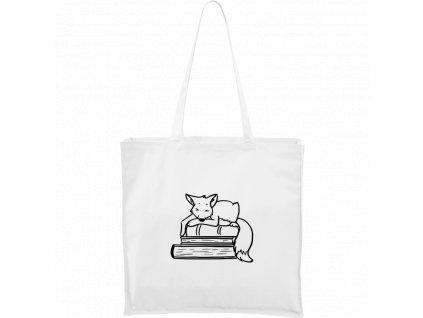 Plátěná taška Carry bílá s černým motivem - Liška na knihách