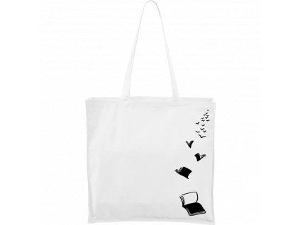 Plátěná taška Carry bílá s černým motivem - Létající knihy