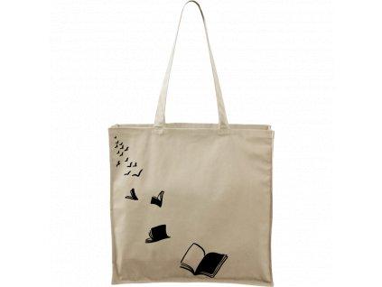 Plátěná taška Carry přírodní s černým motivem - Létající knihy - 2