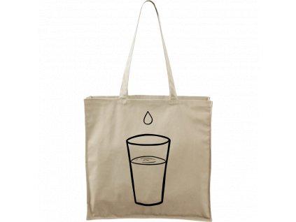 Plátěná taška Carry přírodní s černým motivem - Sklenička s kapkou vody