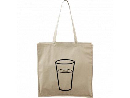 Plátěná taška Carry přírodní s černým motivem - Sklenička s vodou