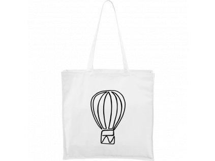 Plátěná taška Carry - Jednotahové - Létající balon (Barva motivu ČERNÁ, Barva tašky PŘÍRODNÍ)