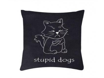 Roni Syvin polštář Stupid dogs černá