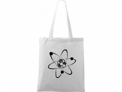 Plátěná taška Handy bílá s černým motivem - Atom