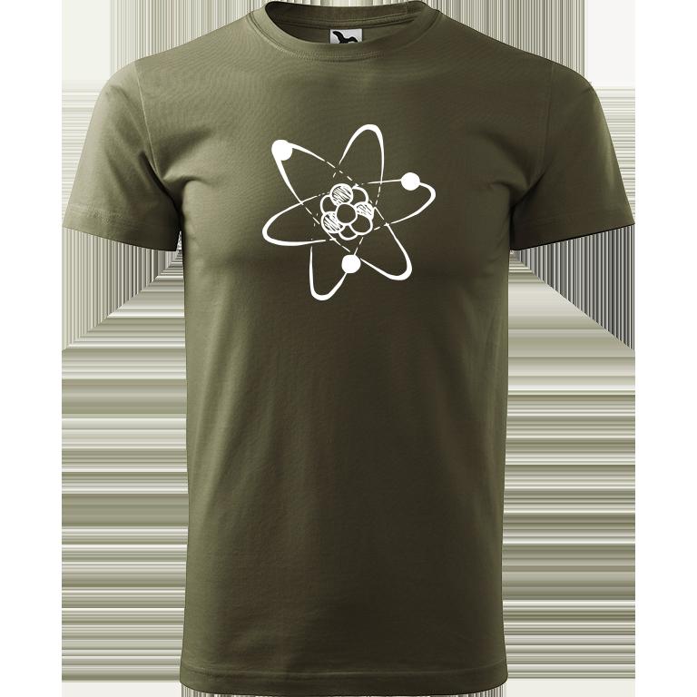 Adler/Malfini Pánské tričko Heavy New - Atom Barva motivu: BÍLÁ, Barva trička: ARMY, Velikost trička: XXL