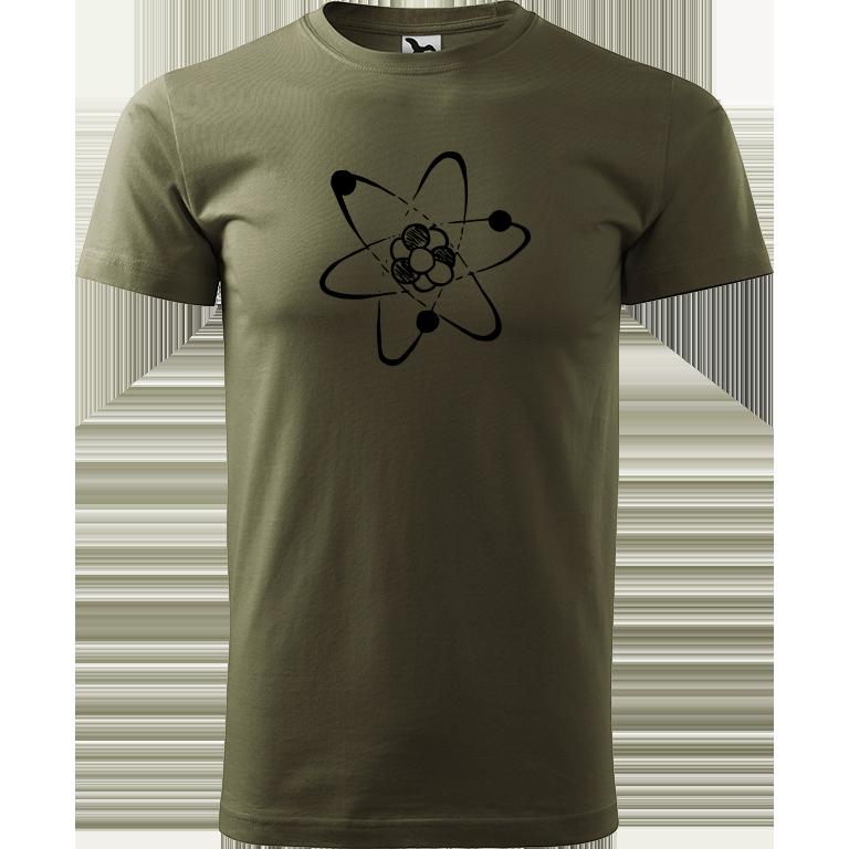 Adler/Malfini Pánské tričko Heavy New - Atom Barva motivu: ČERNÁ, Barva trička: ARMY, Velikost trička: XXL