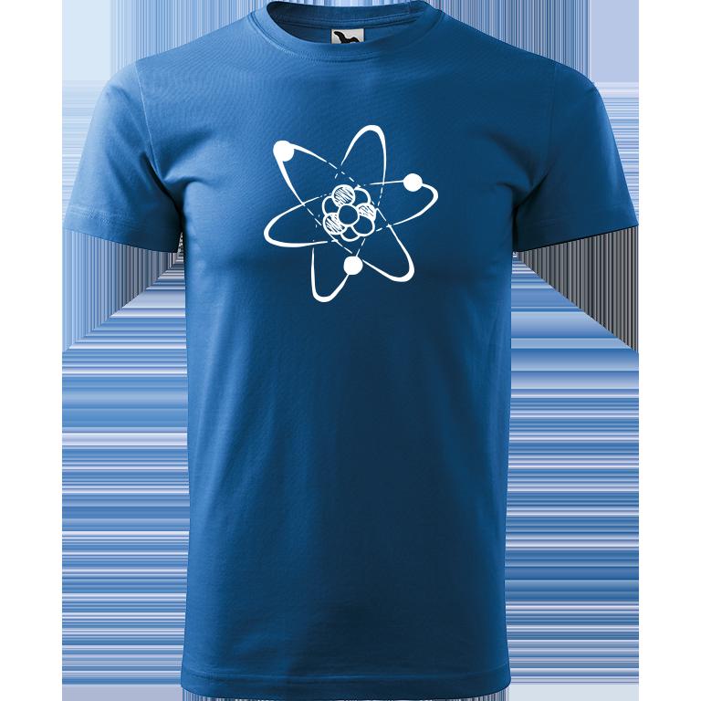 Adler/Malfini Pánské tričko Heavy New - Atom Barva motivu: BÍLÁ, Barva trička: AZUROVÁ, Velikost trička: XXL