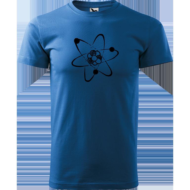 Adler/Malfini Pánské tričko Heavy New - Atom Barva motivu: ČERNÁ, Barva trička: AZUROVÁ, Velikost trička: XXL