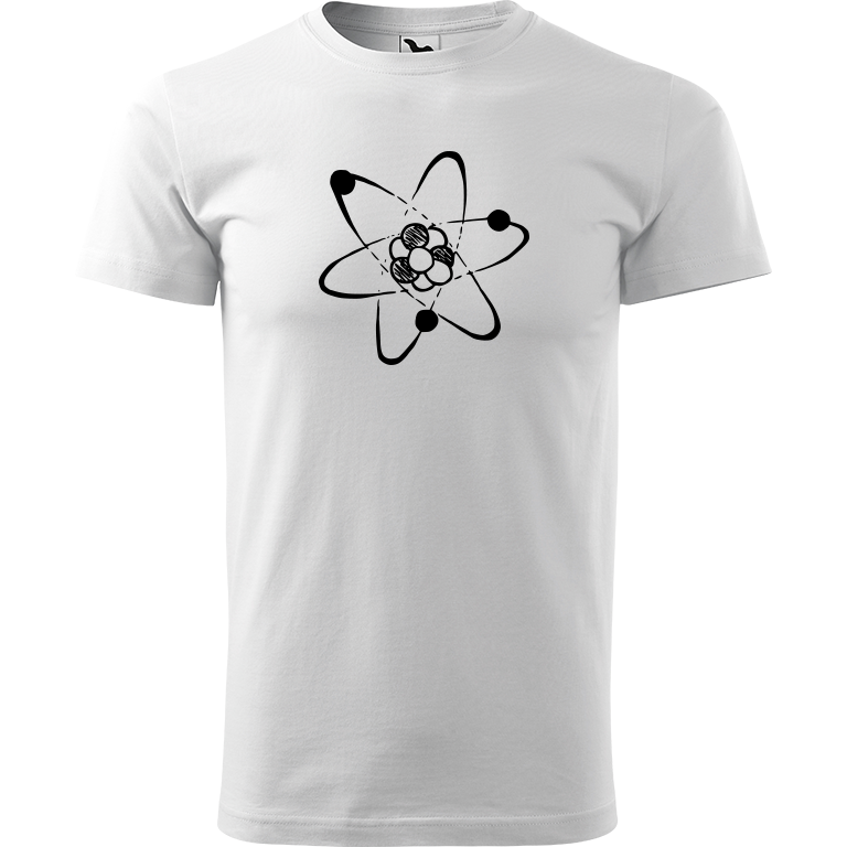 Adler/Malfini Pánské tričko Heavy New - Atom Barva motivu: ČERNÁ, Barva trička: BÍLÁ, Velikost trička: XXL