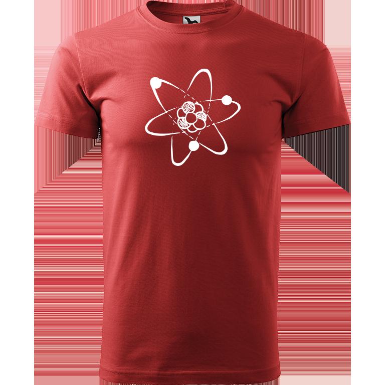Adler/Malfini Pánské tričko Heavy New - Atom Barva motivu: BÍLÁ, Barva trička: BORDÓ, Velikost trička: XXL