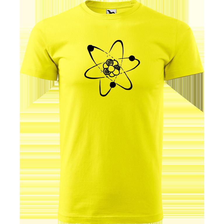 Adler/Malfini Pánské tričko Heavy New - Atom Barva motivu: ČERNÁ, Barva trička: CITRONOVÁ, Velikost trička: XXL