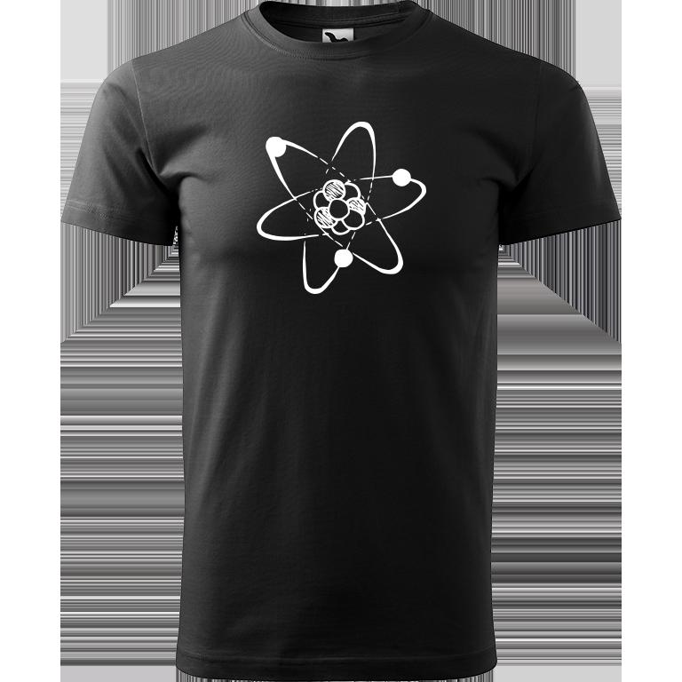 Adler/Malfini Pánské tričko Heavy New - Atom Barva motivu: BÍLÁ, Barva trička: ČERNÁ, Velikost trička: XXL