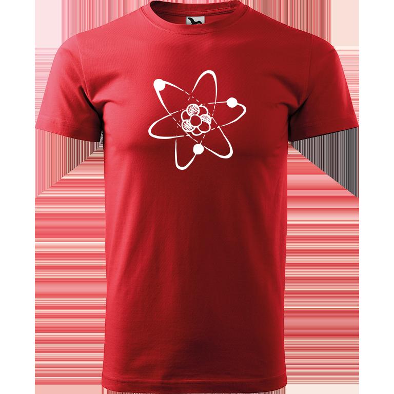 Adler/Malfini Pánské tričko Heavy New - Atom Barva motivu: BÍLÁ, Barva trička: ČERVENÁ, Velikost trička: XXL