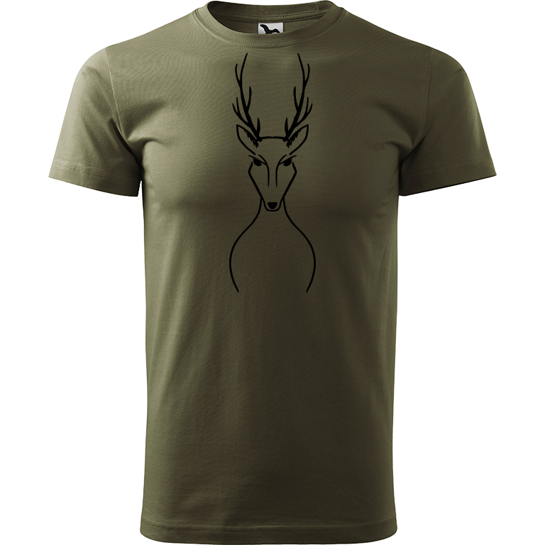 Adler/Malfini Pánské tričko Heavy New - Jelen Barva motivu: ČERNÁ, Barva trička: ARMY, Velikost trička: L