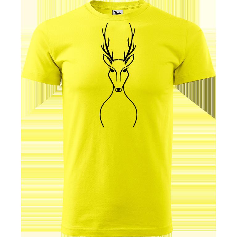 Adler/Malfini Pánské tričko Heavy New - Jelen Barva motivu: ČERNÁ, Barva trička: CITRONOVÁ, Velikost trička: L