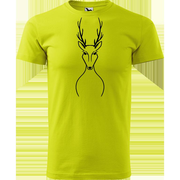 Adler/Malfini Pánské tričko Heavy New - Jelen Barva motivu: ČERNÁ, Barva trička: LIMETKOVÁ, Velikost trička: L