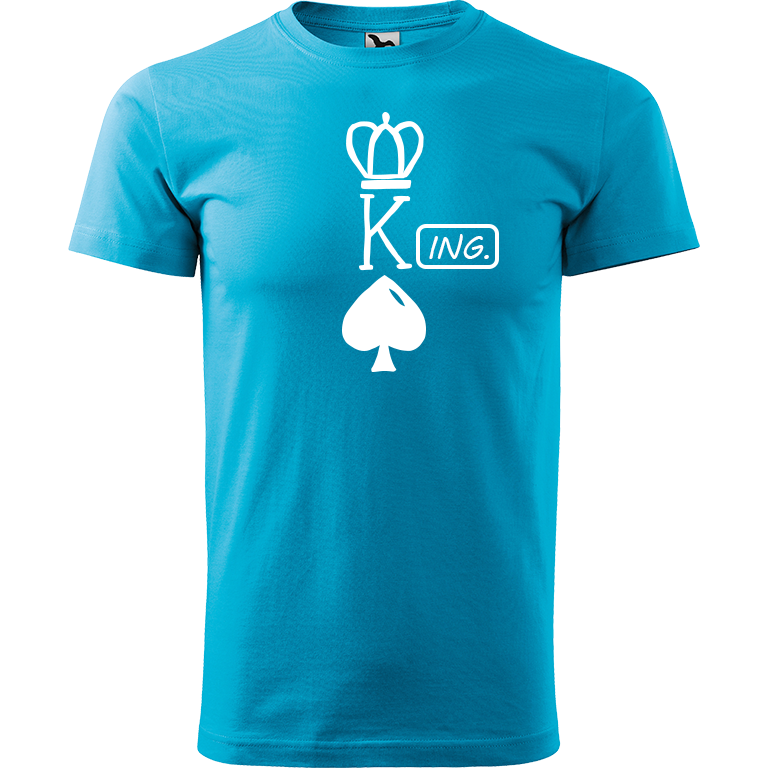 Adler/Malfini Pánské tričko Heavy New - (K)Ing. Barva motivu: BÍLÁ, Barva trička: TYRKYSOVÁ, Velikost trička: XS