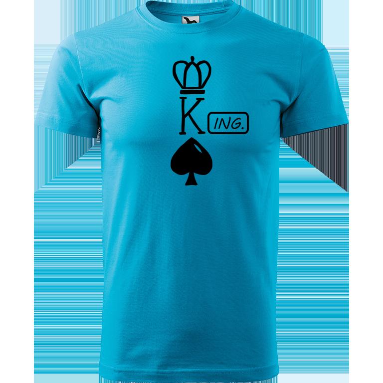 Adler/Malfini Pánské tričko Heavy New - (K)Ing. Barva motivu: ČERNÁ, Barva trička: TYRKYSOVÁ, Velikost trička: XS