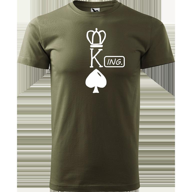 Adler/Malfini Pánské tričko Heavy New - (K)Ing. Barva motivu: BÍLÁ, Barva trička: ARMY, Velikost trička: XS