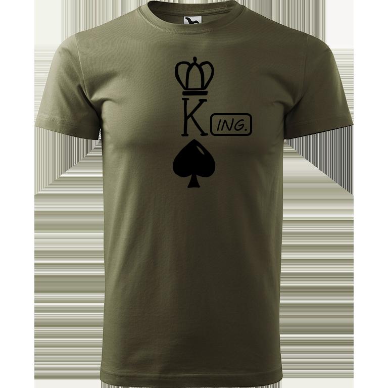 Adler/Malfini Pánské tričko Heavy New - (K)Ing. Barva motivu: ČERNÁ, Barva trička: ARMY, Velikost trička: XS