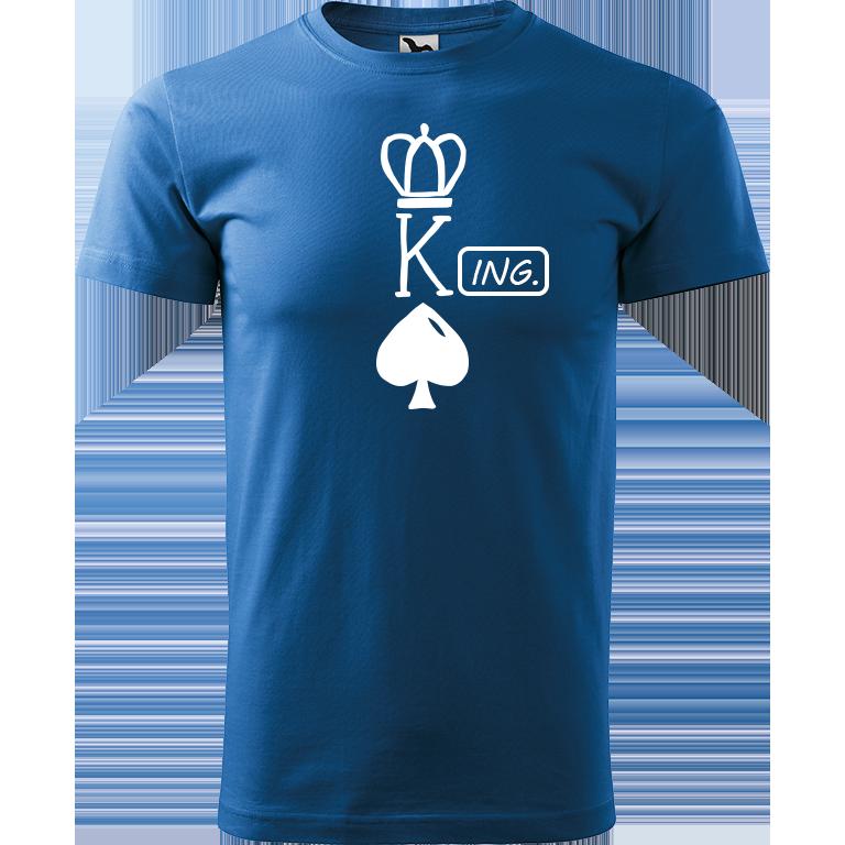 Adler/Malfini Pánské tričko Heavy New - (K)Ing. Barva motivu: BÍLÁ, Barva trička: AZUROVÁ, Velikost trička: XS