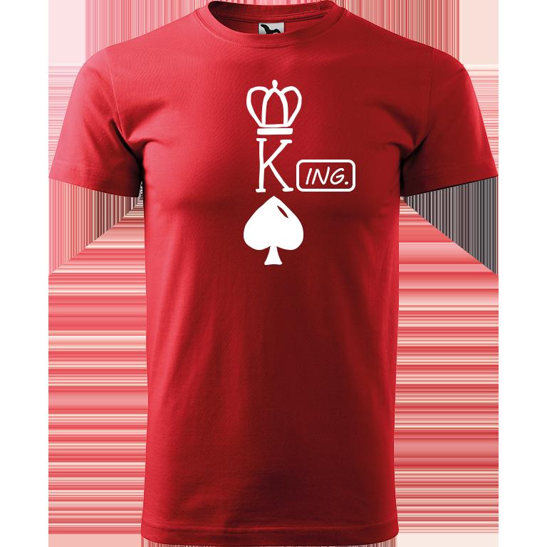 Adler/Malfini Pánské tričko Heavy New - (K)Ing. Barva motivu: BÍLÁ, Barva trička: ČERVENÁ, Velikost trička: XS