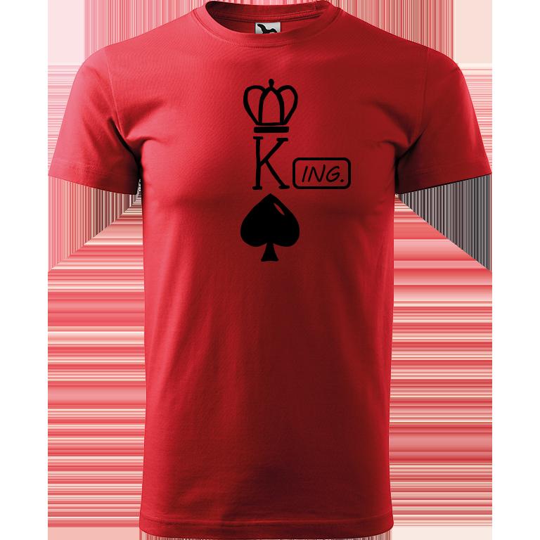 Adler/Malfini Pánské tričko Heavy New - (K)Ing. Barva motivu: ČERNÁ, Barva trička: ČERVENÁ, Velikost trička: XS