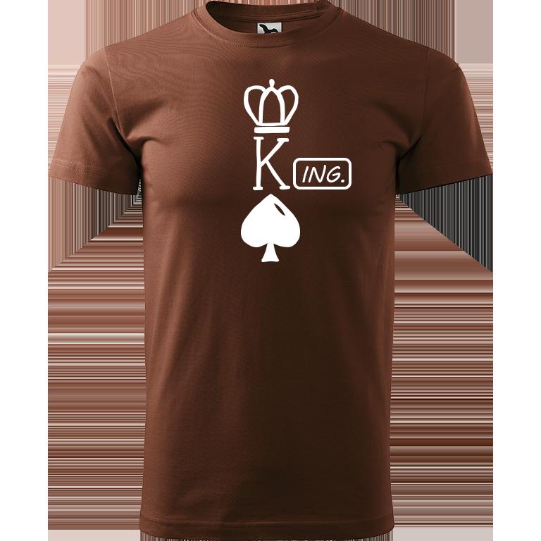 Adler/Malfini Pánské tričko Heavy New - (K)Ing. Barva motivu: BÍLÁ, Barva trička: ČOKOLÁDOVÁ, Velikost trička: XS