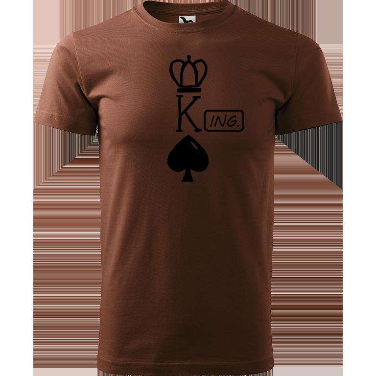 Adler/Malfini Pánské tričko Heavy New - (K)Ing. Barva motivu: ČERNÁ, Barva trička: ČOKOLÁDOVÁ, Velikost trička: XS