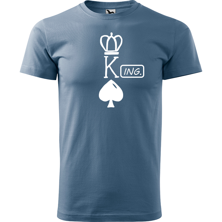 Adler/Malfini Pánské tričko Heavy New - (K)Ing. Barva motivu: BÍLÁ, Barva trička: DENIM, Velikost trička: XS