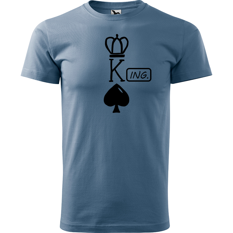 Adler/Malfini Pánské tričko Heavy New - (K)Ing. Barva motivu: ČERNÁ, Barva trička: DENIM, Velikost trička: XS
