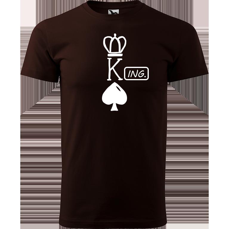 Adler/Malfini Pánské tričko Heavy New - (K)Ing. Barva motivu: BÍLÁ, Barva trička: KÁVOVÁ, Velikost trička: XS