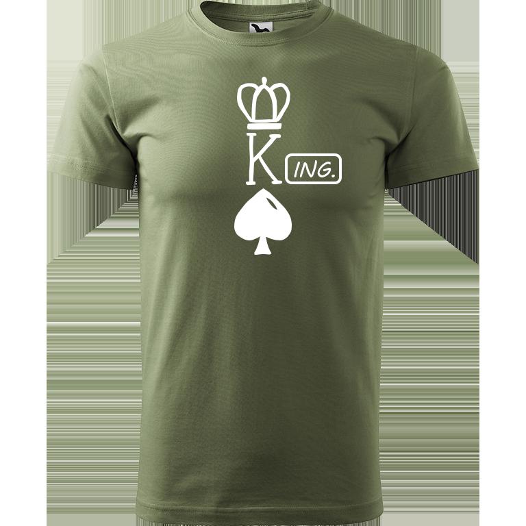 Adler/Malfini Pánské tričko Heavy New - (K)Ing. Barva motivu: BÍLÁ, Barva trička: KHAKI, Velikost trička: XS