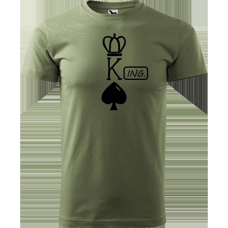 Adler/Malfini Pánské tričko Heavy New - (K)Ing. Barva motivu: ČERNÁ, Barva trička: KHAKI, Velikost trička: XS
