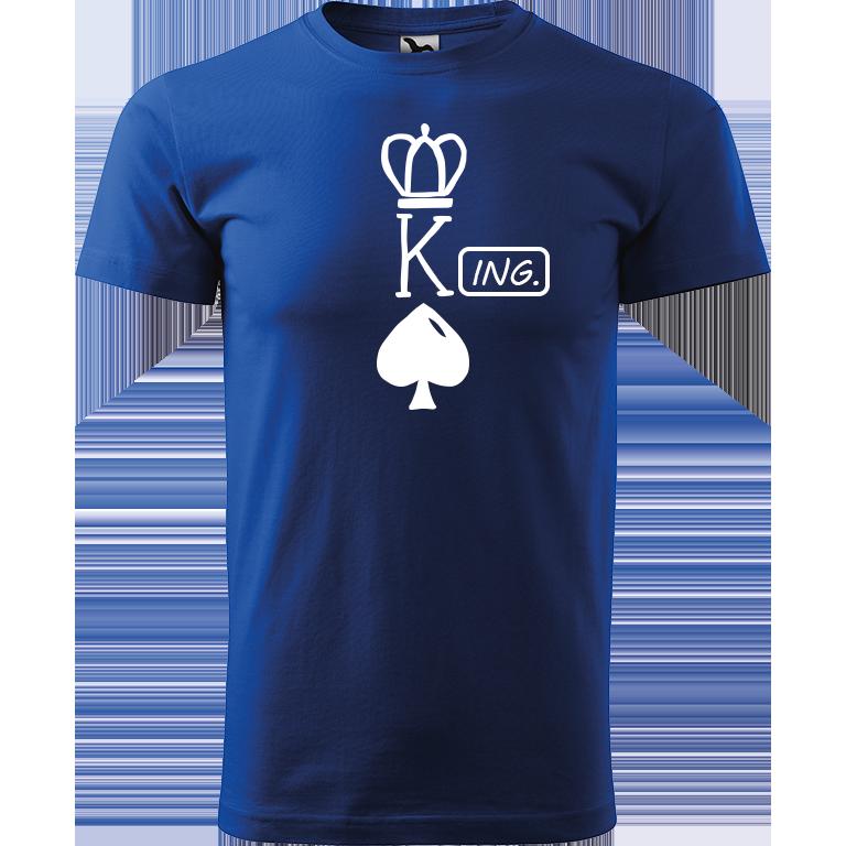Adler/Malfini Pánské tričko Heavy New - (K)Ing. Barva motivu: BÍLÁ, Barva trička: MODRÁ, Velikost trička: XS