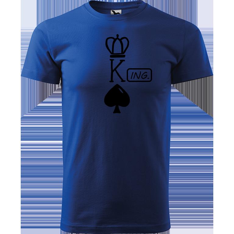 Adler/Malfini Pánské tričko Heavy New - (K)Ing. Barva motivu: ČERNÁ, Barva trička: MODRÁ, Velikost trička: XS
