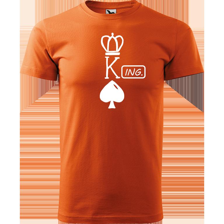 Adler/Malfini Pánské tričko Heavy New - (K)Ing. Barva motivu: BÍLÁ, Barva trička: ORANŽOVÁ, Velikost trička: XS