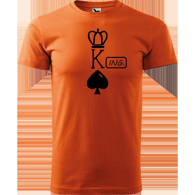 Adler/Malfini Pánské tričko Heavy New - (K)Ing. Barva motivu: ČERNÁ, Barva trička: ORANŽOVÁ, Velikost trička: XS