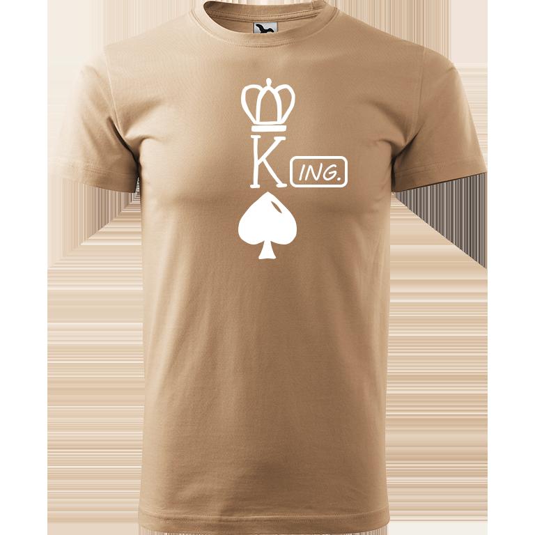 Adler/Malfini Pánské tričko Heavy New - (K)Ing. Barva motivu: BÍLÁ, Barva trička: PÍSKOVÁ, Velikost trička: XS