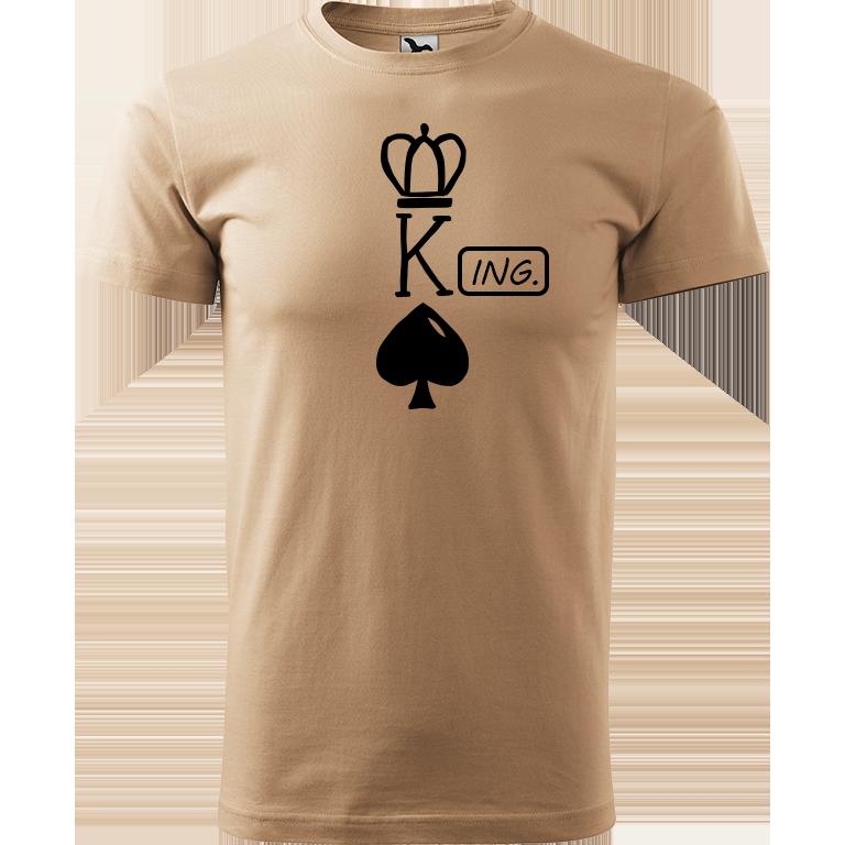 Adler/Malfini Pánské tričko Heavy New - (K)Ing. Barva motivu: ČERNÁ, Barva trička: PÍSKOVÁ, Velikost trička: XS