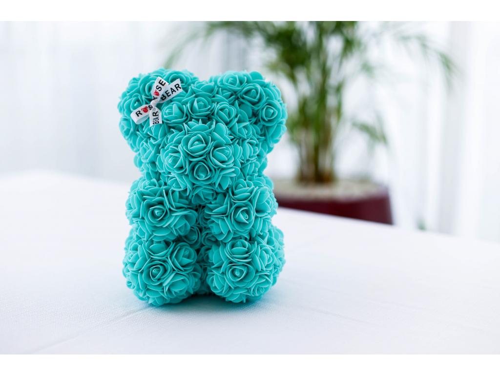 Tiffany medvídek z růží se stuhou