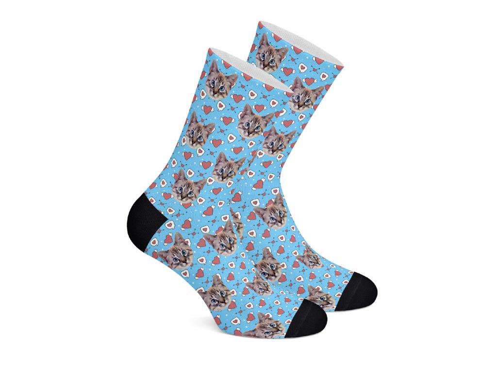 Valentýnské ponožky s vlastním potiskem obličeje