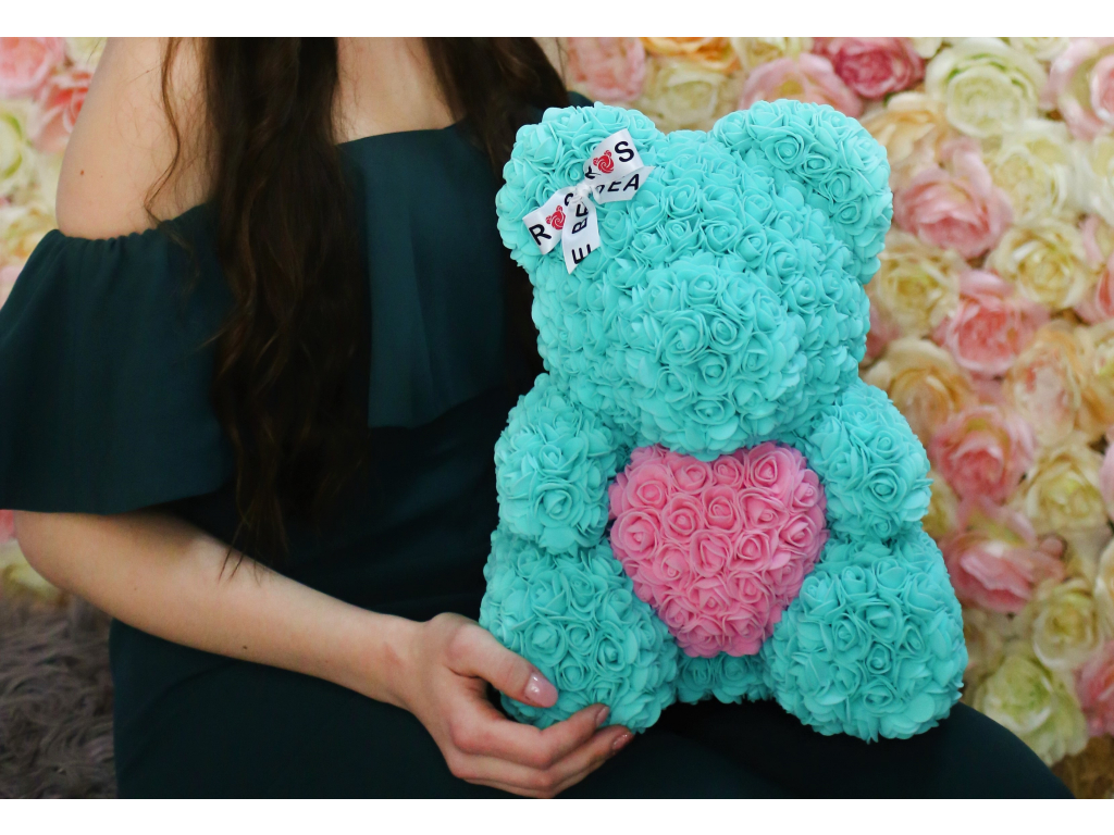 tiffany medvídek s růžovým srdcem