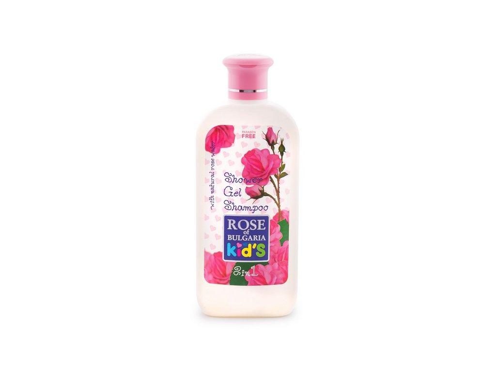 Dětský sprchový gel a šampon 2v1 s růžovou vodou 200