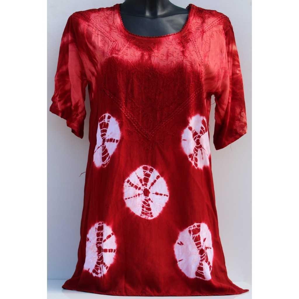 Batikovaná halenka červenobílá
