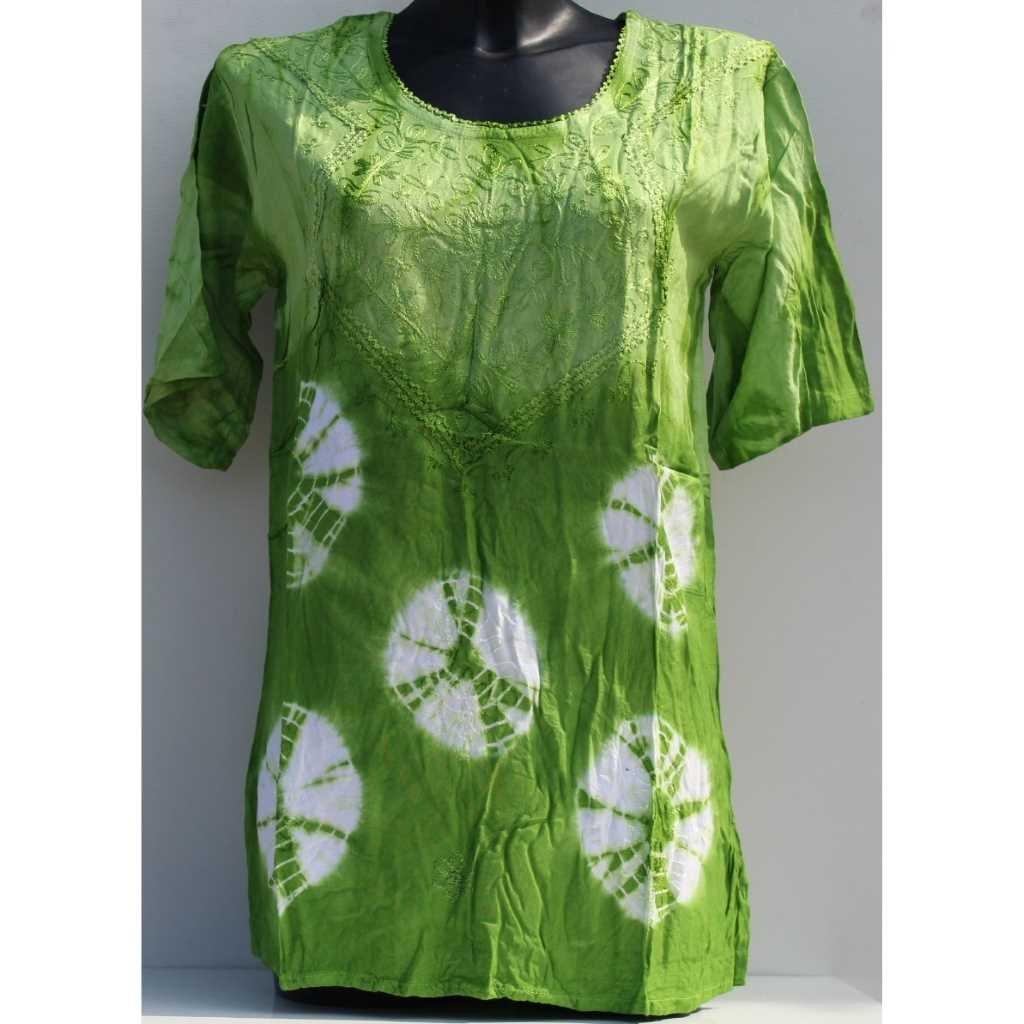 Batikovaná halenka zelenobílá