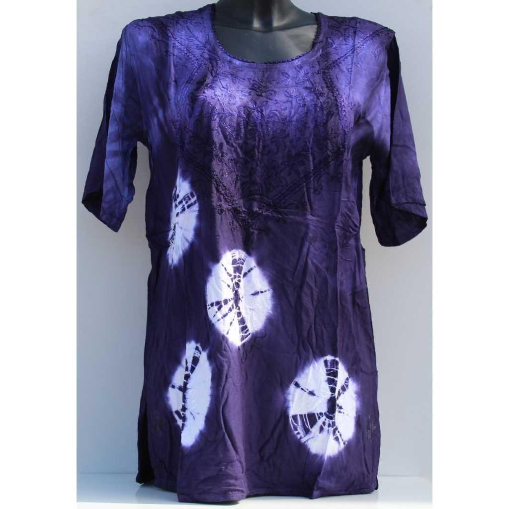 Batikovaná halenka fialovobílá
