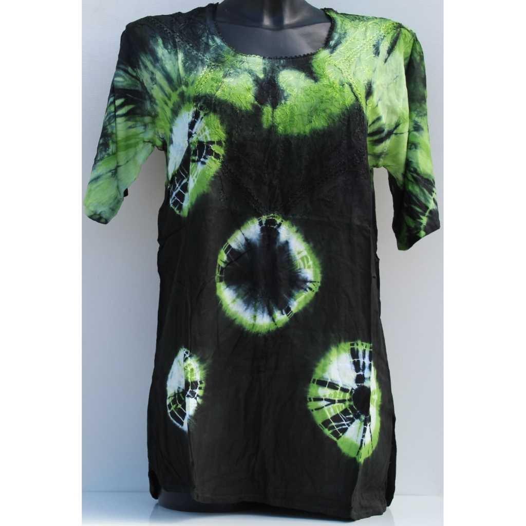 Batikovaná halenka černo - zelená