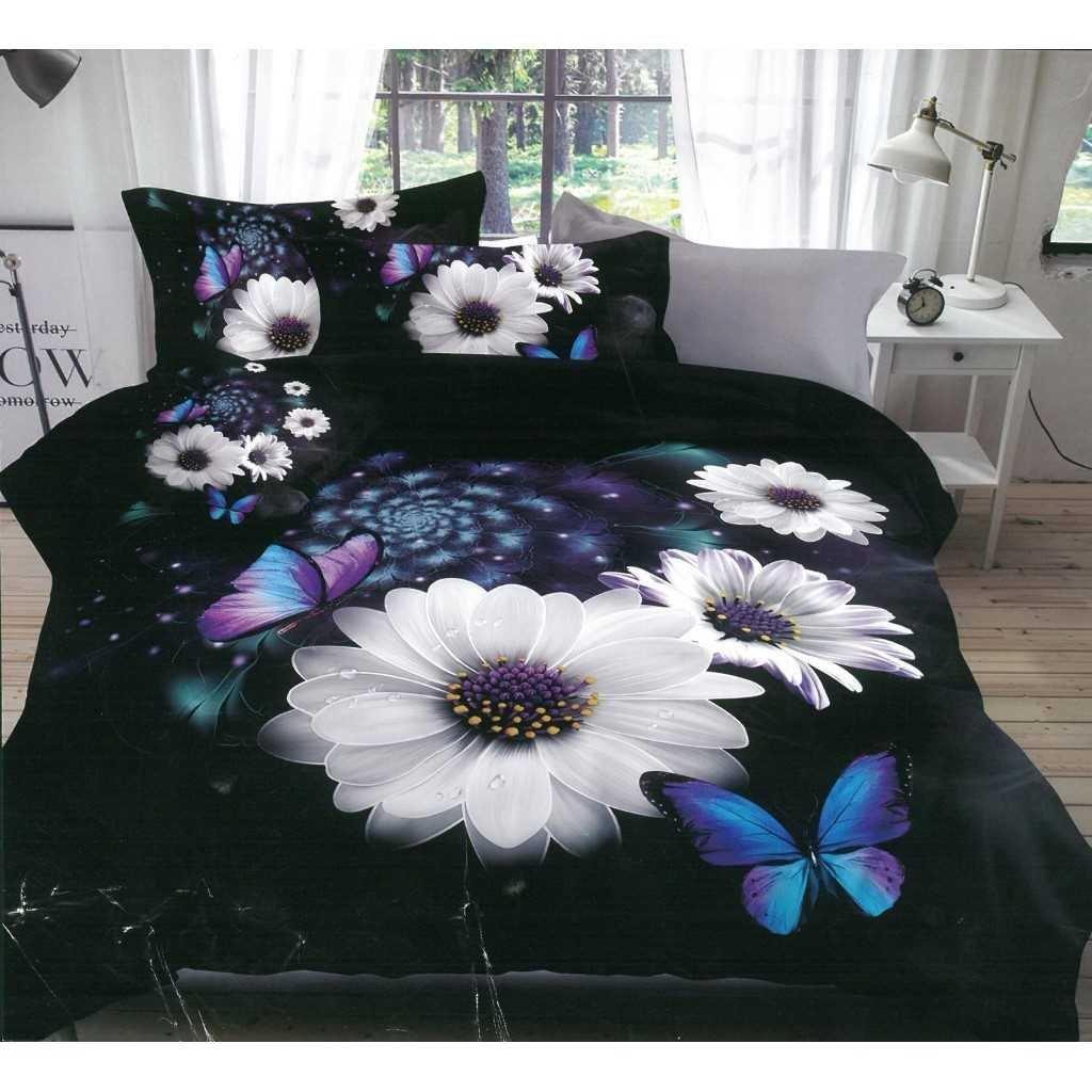 5D černé s kopretinami a motýli
