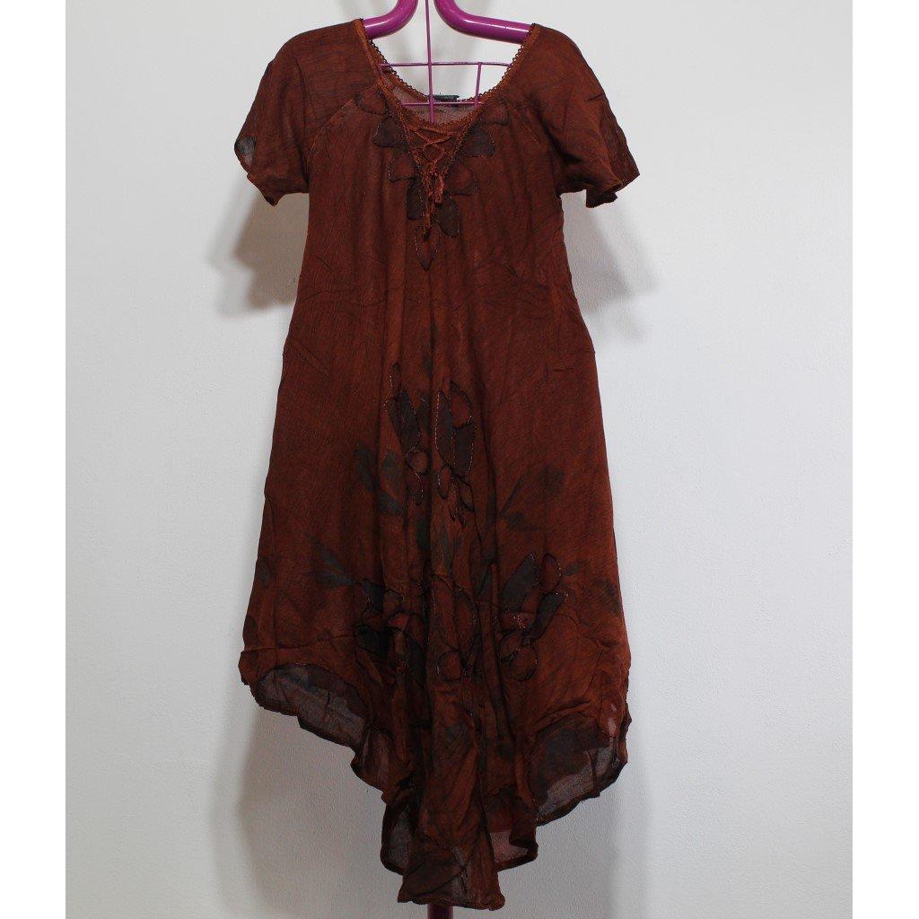 Batikované šaty květy hnědé